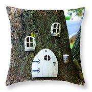 The Elf House Throw Pillow