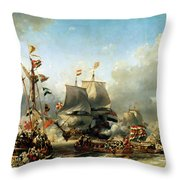 The Embarkation Of Ruyter And William De Witt In 1667 Throw Pillow