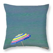 The Emerald Coast With Beach Chairs Throw Pillow