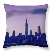 The Empire State Building In New York At 6 A. M. In January Throw Pillow
