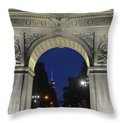 The Empire State Building Through The Washington Square Arch Throw Pillow