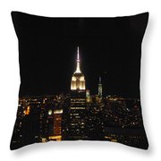 The Empire States At Night Throw Pillow