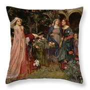 The Enchanted Garden Throw Pillow by John William Waterhouse