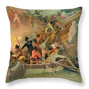 The English Navy Conquering A French Ship Near The Cape Camaro Throw Pillow
