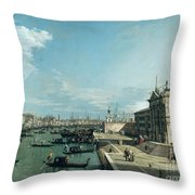 The Entrance To The Grand Canal And The Church Of Santa Maria Della Salute Throw Pillow by Canaletto