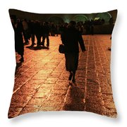 The Entrance To The Western Wall At Night Throw Pillow