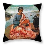 The Evangelist John At Patmos Throw Pillow