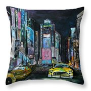 The Evening Of Time Square Throw Pillow