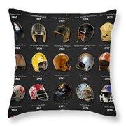 The Evolution Of The Nfl Helmet Throw Pillow