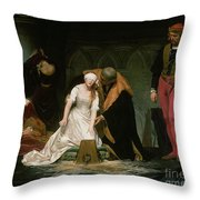 The Execution Of Lady Jane Grey Throw Pillow by Hippolyte Delaroche