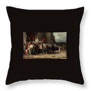 The Expulsion Or La Patricienne Romaine Expulsee Throw Pillow