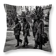 The Fab Four In Black And White Throw Pillow