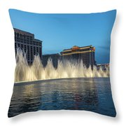 The Fabulous Fountains At Bellagio - Las Vegas Throw Pillow