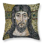 The Face Of Christ Throw Pillow by Byzantine School