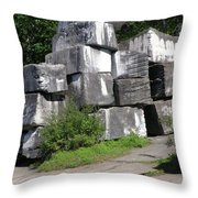 The Faces In The Stone Blocks Throw Pillow