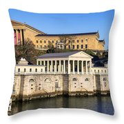 The Fairmount Water Works And Art Museum Throw Pillow by John Greim