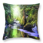 The Fairy Glen Gorge River Conwy Throw Pillow