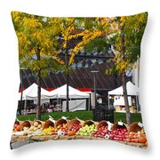 The Fall Harvest Is In Kendall Square Farmers Market Foliage Throw Pillow