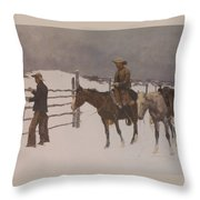 The Fall Of The Cowboy Throw Pillow by Frederic Remington