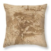 The Fall Of The Rebel Angels [recto] Throw Pillow