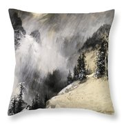 The Falling Flakes Mountain Scene. Yosemite A Mountain Snowfall Throw Pillow