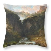 The Falls Of Tivoli With The Temple Of Vesta  Throw Pillow