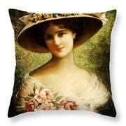 The Fancy Bonnet Throw Pillow by Emile Vernon