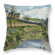 The Farm At Osny Throw Pillow by Camille Pissarro
