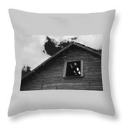 The Farm In Black And White Throw Pillow