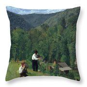 The Farmer And His Son At Harvesting Throw Pillow