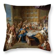 The Feast Of Dido And Aeneas. An Allegorical Portrait Of The Family Of The Duc And Duchesse Du Maine Throw Pillow