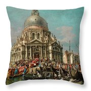 The Feast Of The Madonna Della Salute In Venice Throw Pillow