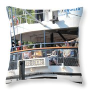 The Ferry Arrives Throw Pillow