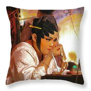 The Final Touch-chinese Opera Throw Pillow