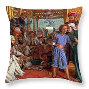 The Finding Of The Savior In The Temple Throw Pillow by William Holman Hunt