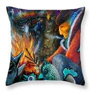 The Fire Tender Throw Pillow