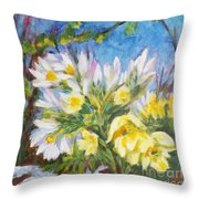 The First Flowers After Winter Throw Pillow