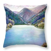 The First Frosty Morning At The Lake Throw Pillow