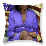 The First Lady-american Pride Throw Pillow by Reggie Duffie