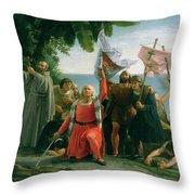 The First Landing Of Christopher Columbus Throw Pillow