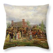 The First Railroad Train On The Mohawk And Hudson River Throw Pillow