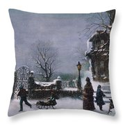 The First Snow, 1877 Throw Pillow