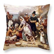 The First Thanksgiving Throw Pillow
