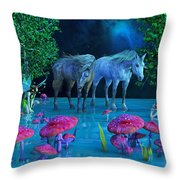 The First Time We Saw Horses Throw Pillow