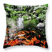The Fish Pond At Thailand Throw Pillow