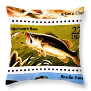The Fish Stamps Throw Pillow by Lanjee Chee