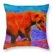 The Fishing Bear - Da Throw Pillow