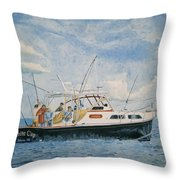The Fishing Charter - Cape Cod Bay Throw Pillow