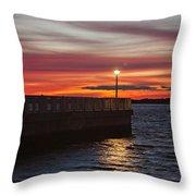 The Fishing Pier Throw Pillow