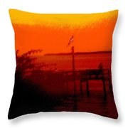 The Flag Flying Free In Florida Throw Pillow